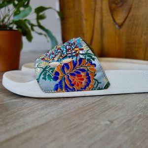 Steve Madden | beaded embroidered slides